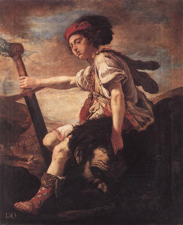 David with the Head of Goliath :: Domenico Feti - Bible scenes in art and painting фото