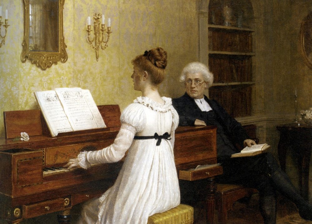 The Piano Lesson :: Edmund Blair Leighton - Romantic scenes in art and painting фото