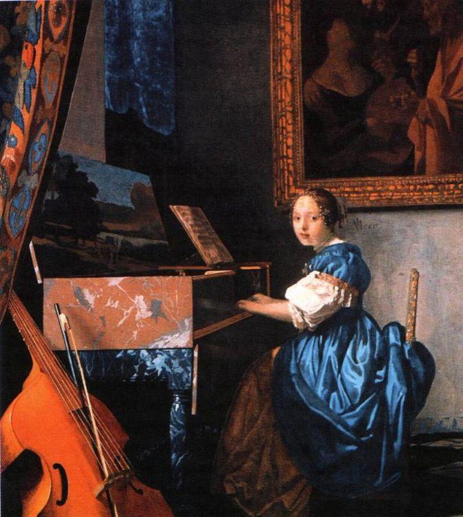 The lady behind harpsichord :: Jan Vermeer (1632-1675) - user art painting gallery фото