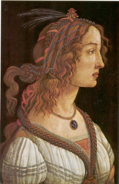Portrait of a Young Woman (Simonetta Vespucci Idealized Portrait?) :: Sandro Botticelli  - 1 women portraits 15th century hall фото