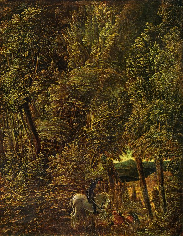 St. George in the Forest, 1510, Alte Pinakothek, Munich :: Albrecht Altdorfer - user art painting gallery ôîòî