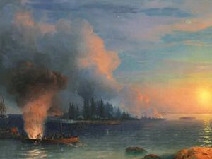 "Ivan Ayvazovsky, ""Fight for Bomarzund"" - user art painting gallery фото"