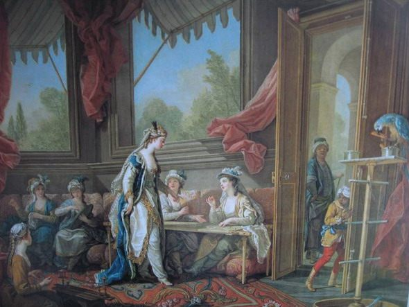 "Charles-Amedee-Philippe van Loo. ""The Sultana Ordering Tapestries from the Odalisques."" 1773. Museum of Nice  - Scenes of Harem"