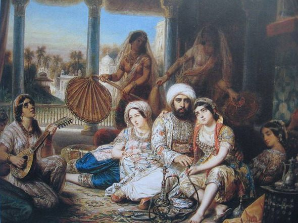 "Francois Gabriel Lepaulle ""The Pasha and His Harem."" Private collection, Paris"
