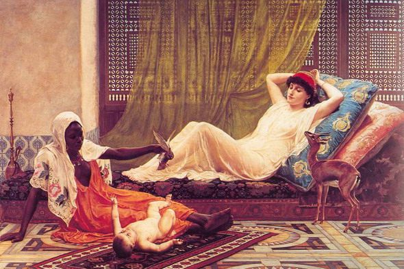 "Frederick Goodall. ""A New Light in the Harem"". 19th century. Liverpool Art Gallery"
