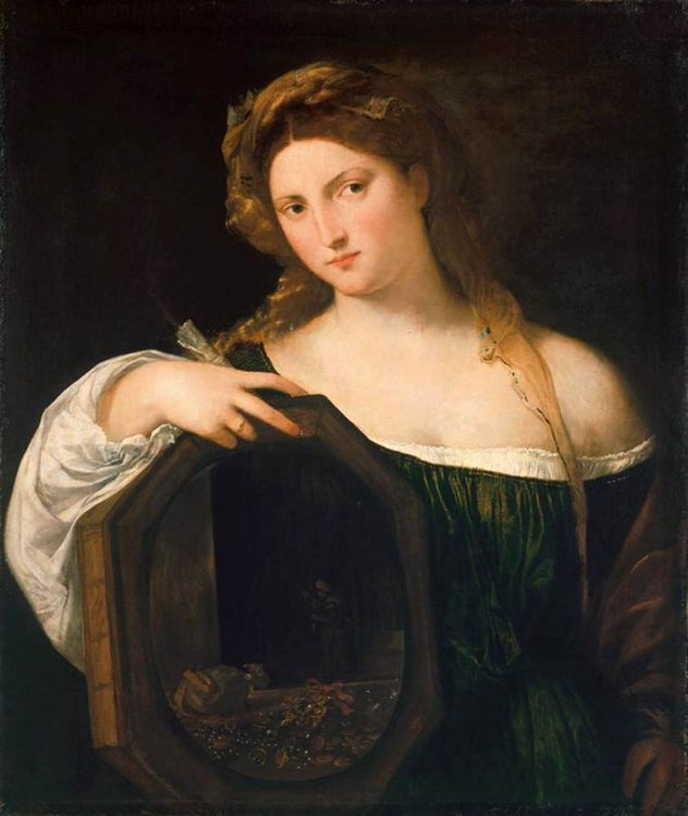 Profane Love (Vanity) by TIZIANO Vecellio - 2 women portraits 16th century hall фото