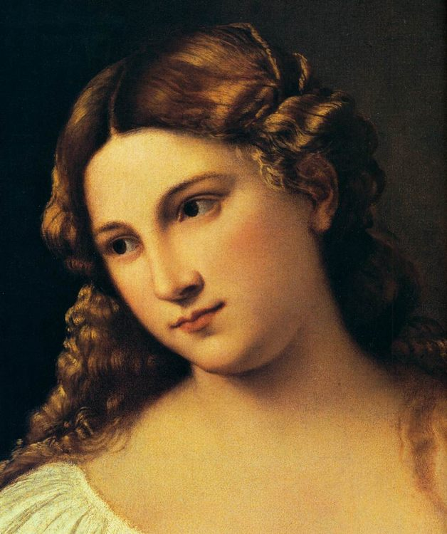 Flora (detail) by TIZIANO Vecellio - 2 women portraits 16th century hall фото