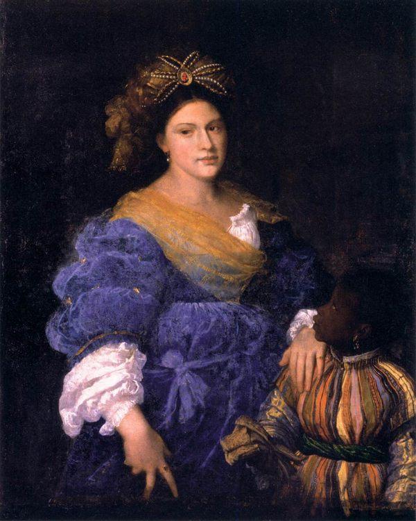 Portrait of Laura Eustochia :: TIZIANO Vecellio - 2 women portraits 16th century hall фото