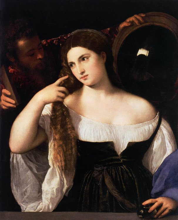 Woman with a Mirror by TIZIANO Vecellio - 2 women portraits 16th century hall фото