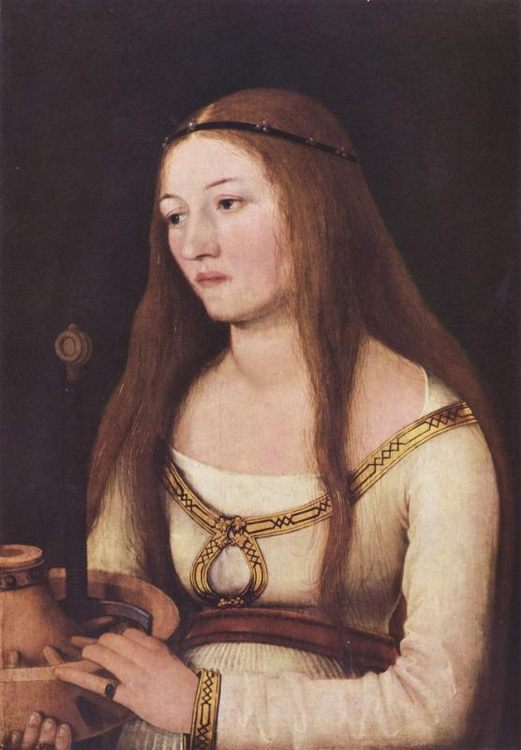 Katarina Schwartz's portrait with attributes of her Saint patroness  - 1 women portraits 15th century hall фото
