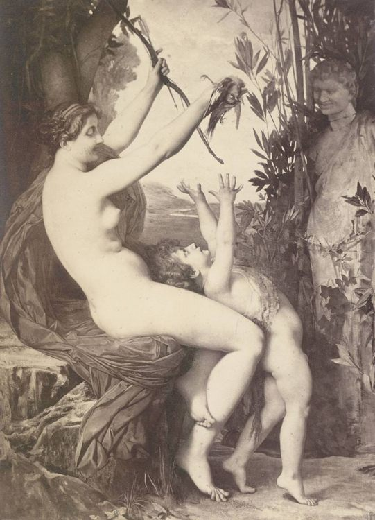 Nymph and Bacchus :: Jules Joseph Lefebvre - nu art in mythology painting фото