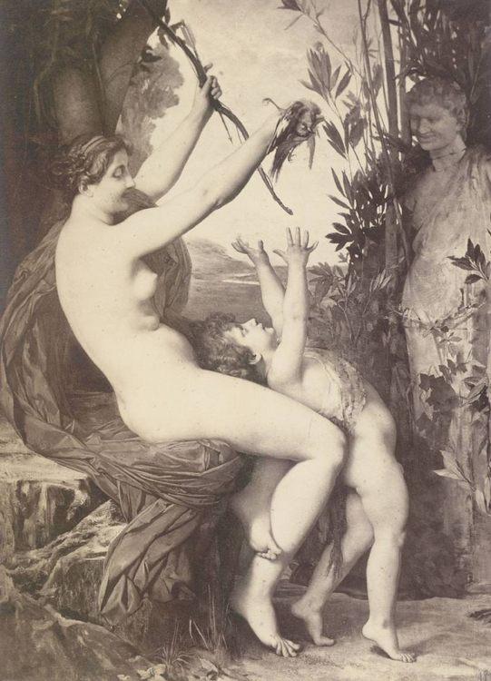 Nymph and Bacchus :: Jules Joseph Lefebvre - nu art in mythology painting ôîòî