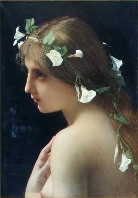 Nymph with morning glory flowers :: Jules Joseph Lefebvre - nu art in mythology painting ôîòî