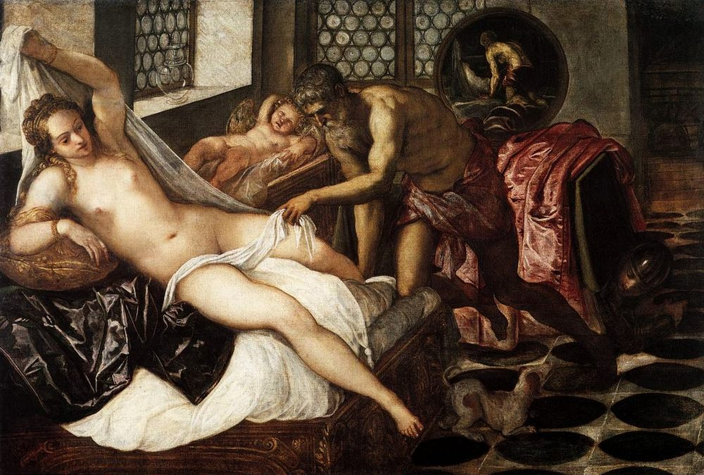 Venus, Mars, and Vulcan :: Jacopo Tintoretto - nu art in mythology painting фото