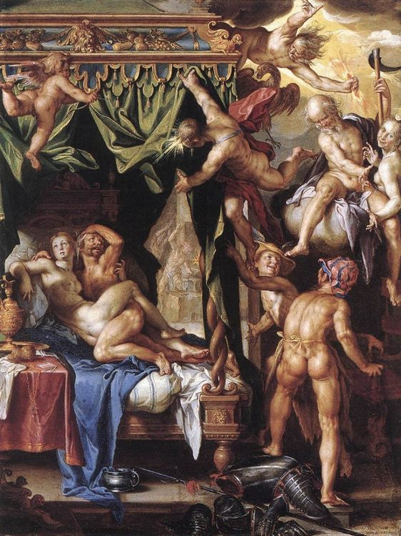 Mars and Venus Discovered by the Gods :: Joachim Wtewael - nu art in mythology painting фото