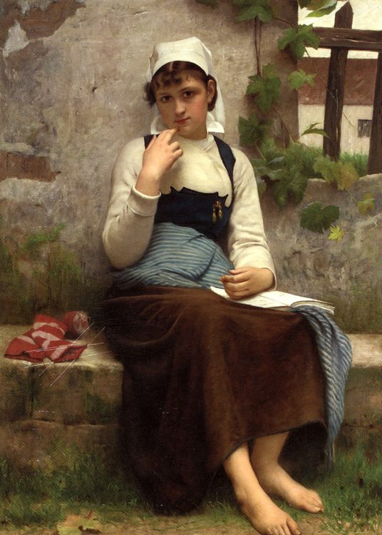Portraits of young girls from the village by Francois-Alfred Delobbe