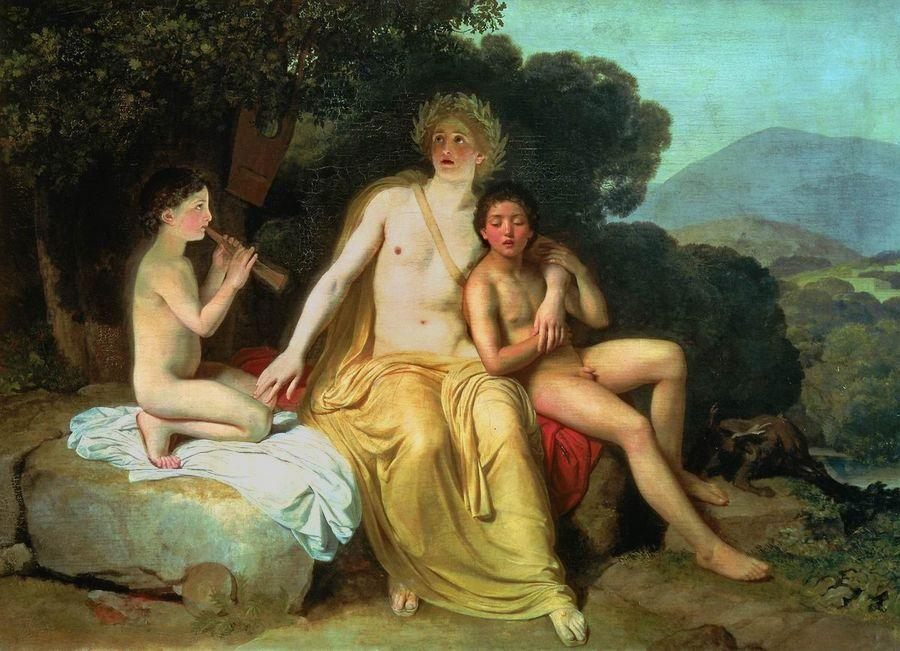 Apollo, Hyacinthus and Cyparissus Singing and Playing Music :: Alexander Ivanov - nu art in mythology painting фото