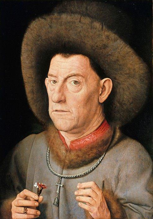 The Man with the Carnation :: Jan van Eyck - men's portraits 15th century hall ôîòî