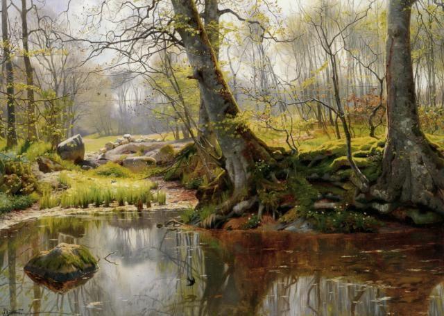 A Tranquil Pond :: Peder Mork Monsted - Landscapes фото