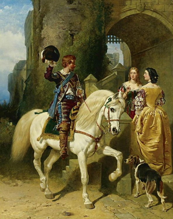 Genre painting - romantic horse ride ...