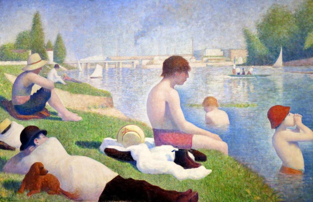 "Georges Seurat ""Bathing in Anyer"". Description of the painting"