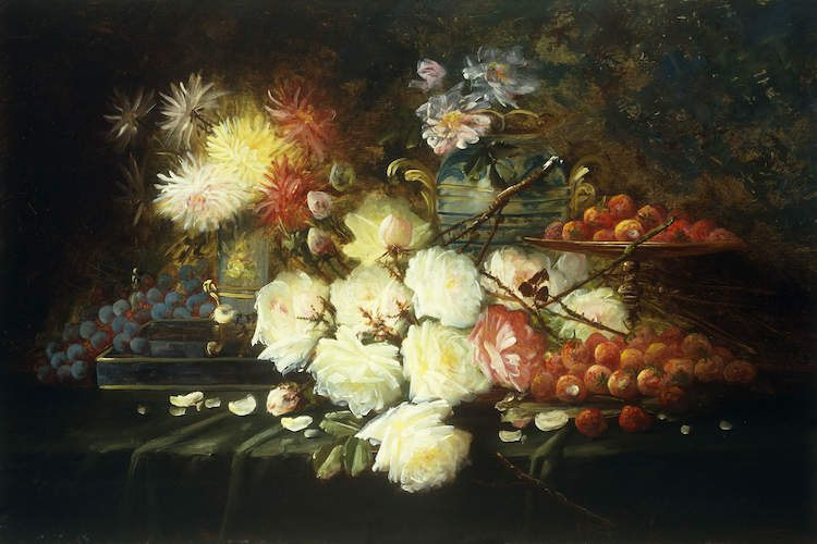Modeste Carlier - Still Lifes with flowers in painting