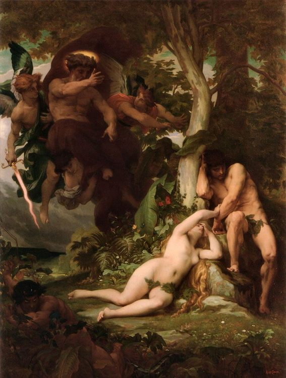 The Expulsion of Adam and Eve from the Garden of Paradise, Alexander Cabanel - portraits, myphology and salon painting