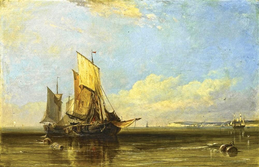 Fishing boats in Honfleur in calm weather, far Le Havre - Cook Edward William