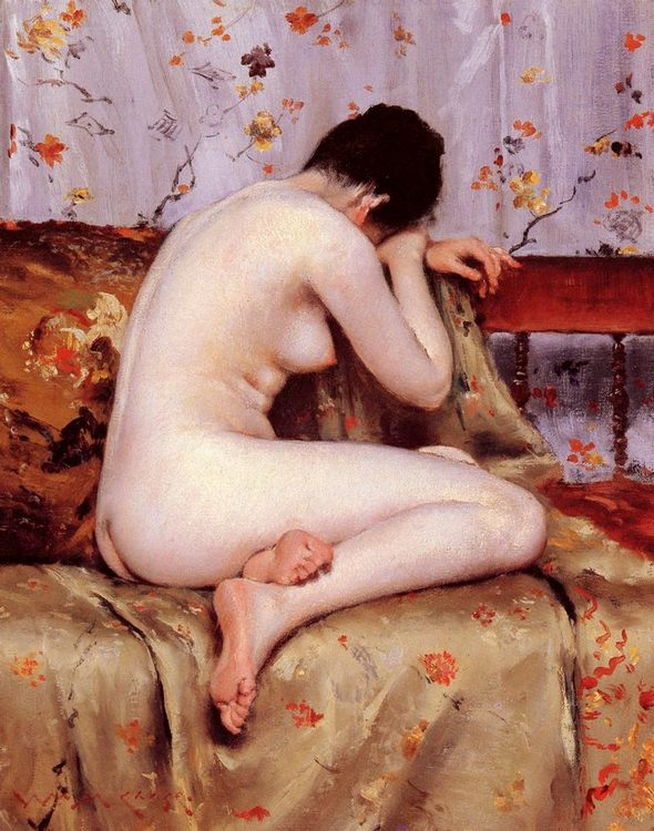 Modern Magdalen  ( Nude on sofa ) :: William Merritt Chase - Nu in art and painting ôîòî