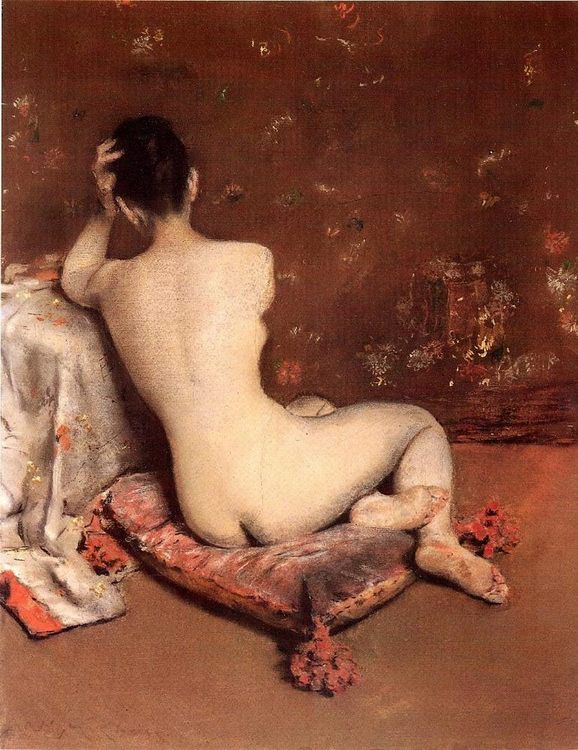 The Model ( Female back ) :: William Merritt Chase - Nu in art and painting ôîòî