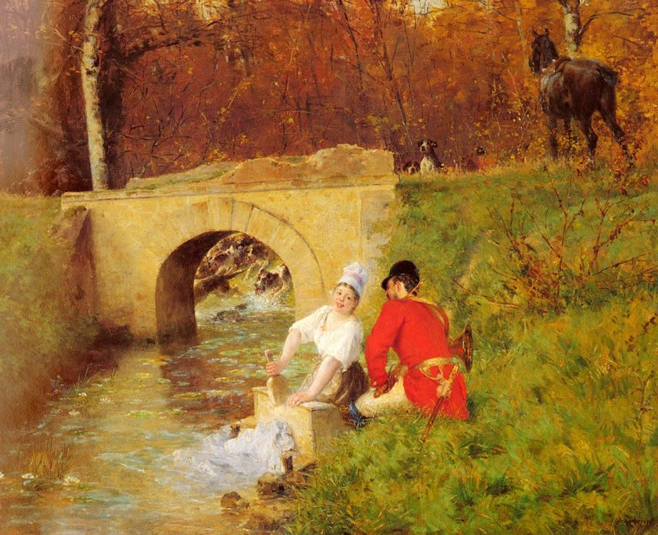 A Moment Aside :: Alphonse Gaudefroy - Romantic scenes in art and painting фото