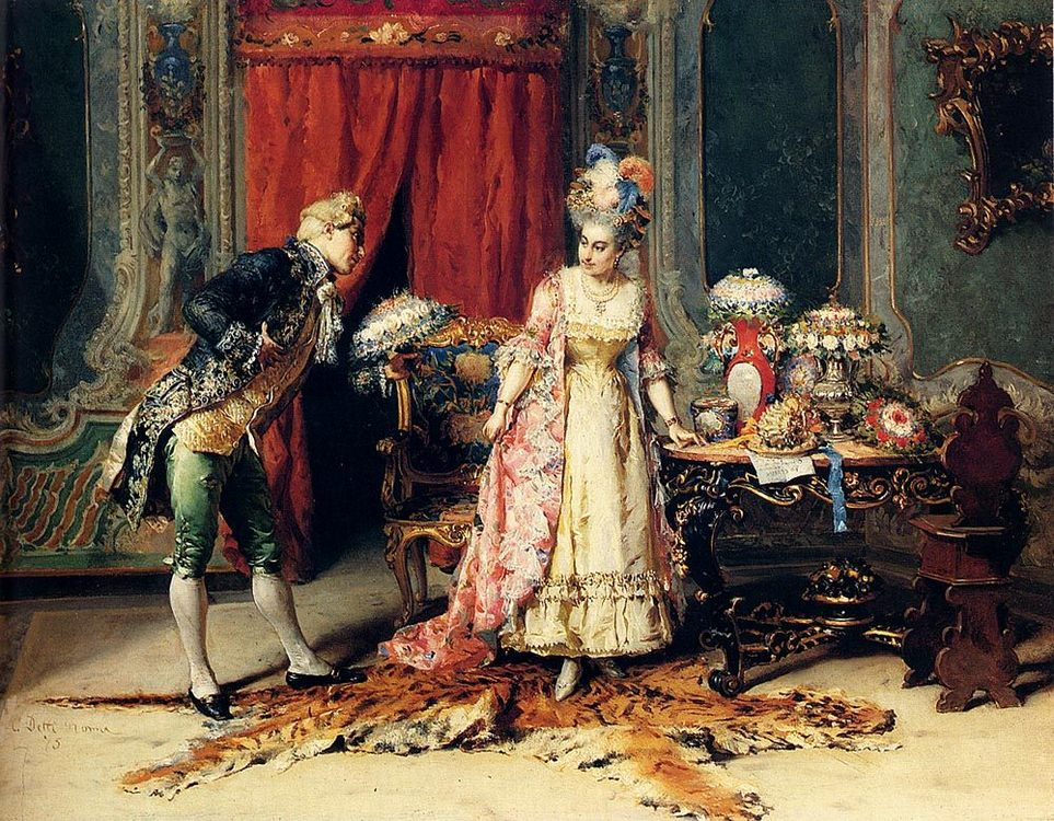 Flowers For Her Ladyship :: Cesare-Auguste Detti - Romantic scenes in art and painting фото