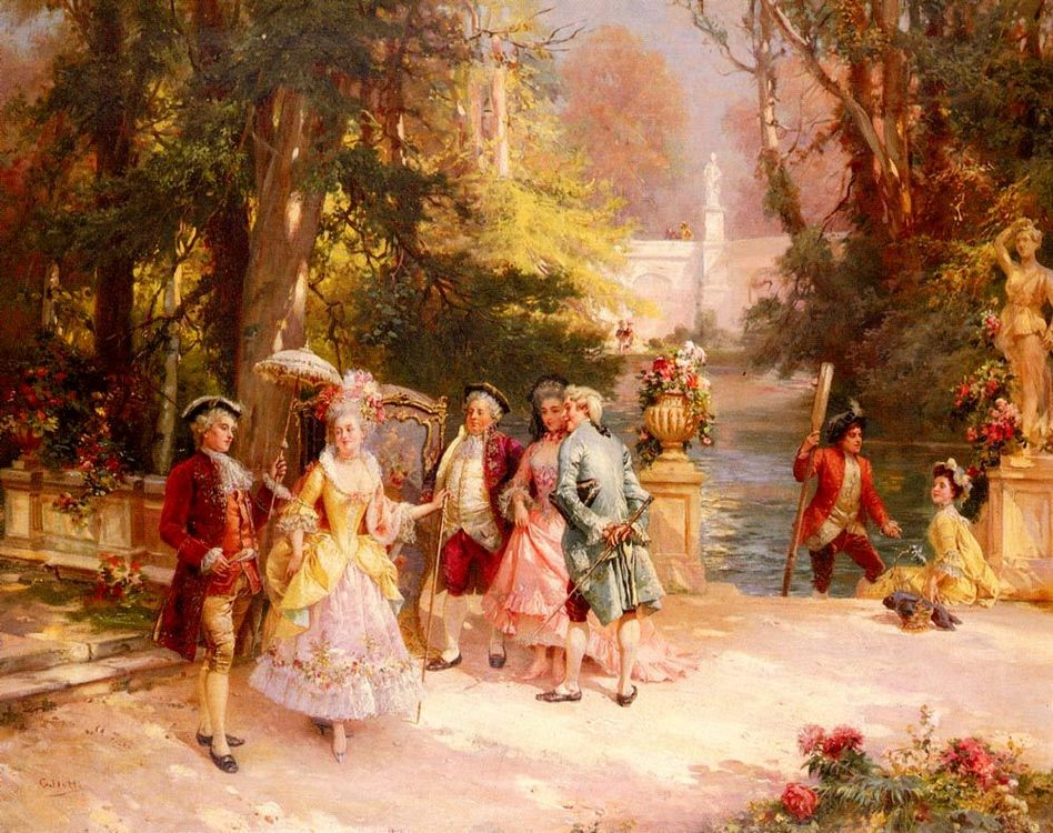 The Castle Garden :: Cesare-Auguste Detti - Romantic scenes in art and painting фото