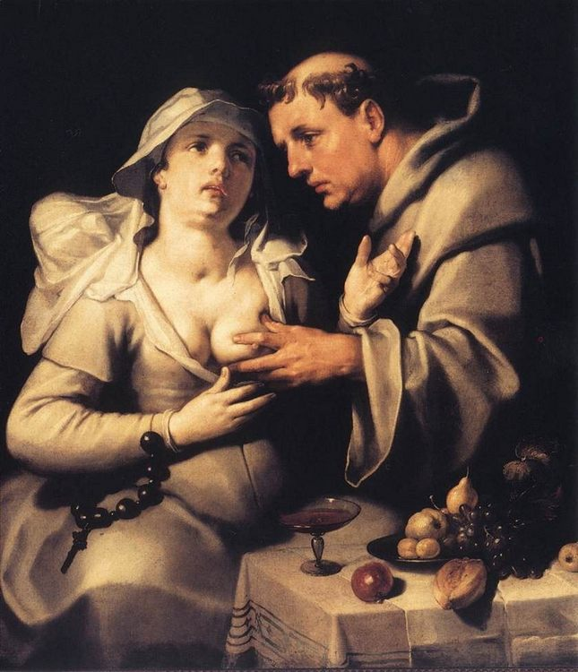 The Monk and the Nun :: Cornelis Cornelisz Van Haarlem - Romantic scenes in art and painting фото