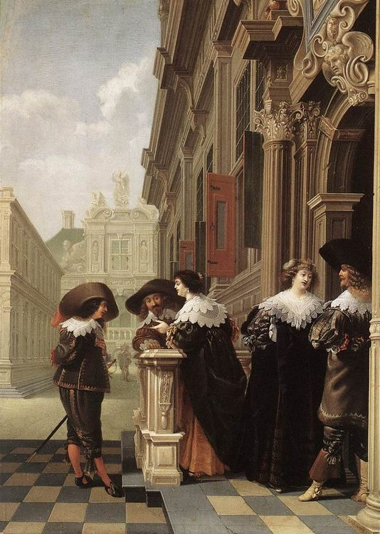 Conversation outside a Castle :: Dirck van Delen - Romantic scenes in art and painting ôîòî