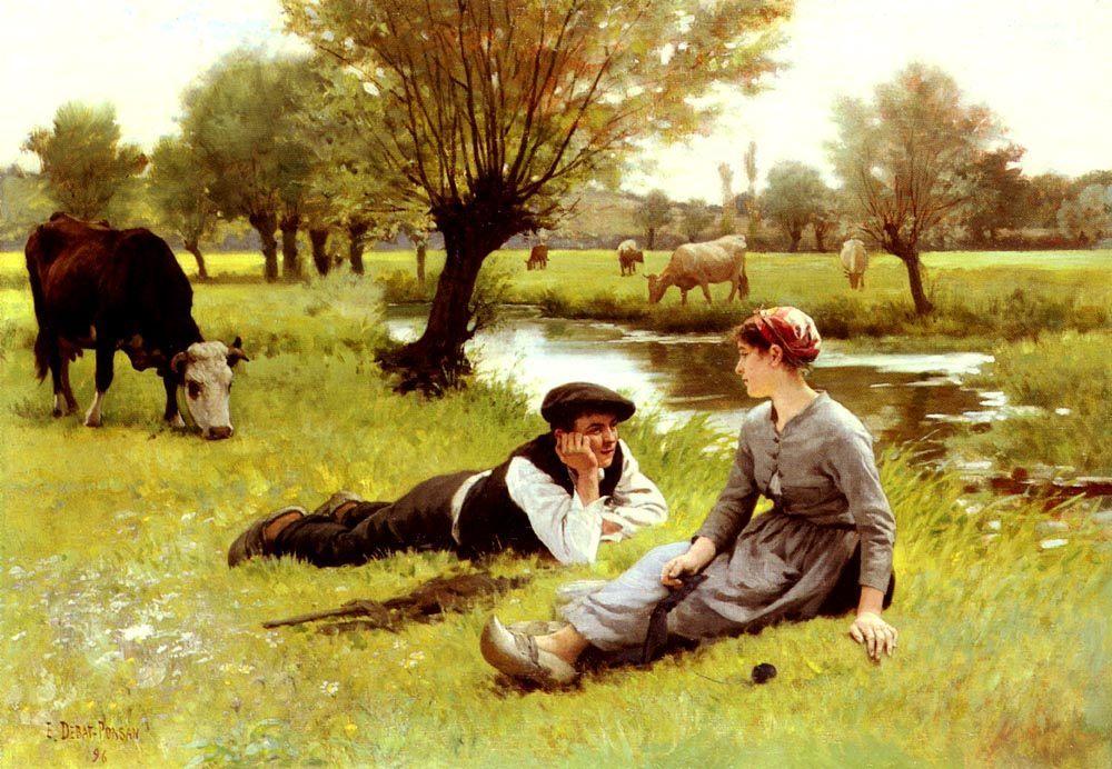 Flirting :: Edouard Bernard Debat-Ponsan - Romantic scenes in art and painting фото