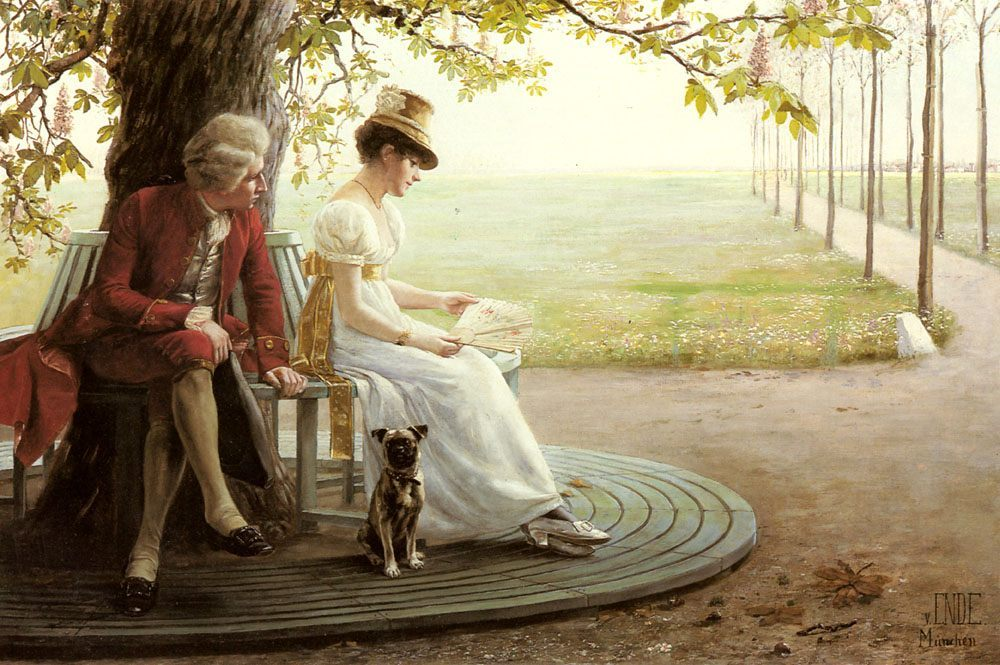 Courtship :: Felix Friedrich Von Ende - Romantic scenes in art and painting фото
