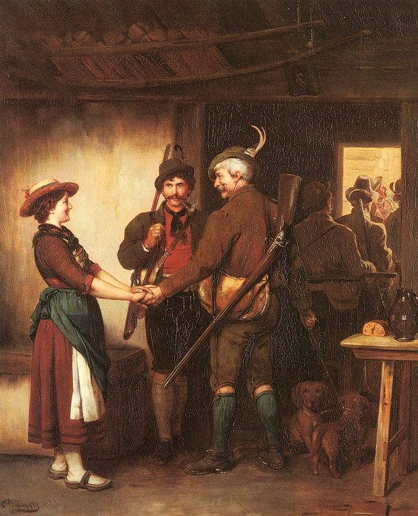 The Hunters Farewell :: Franz Von Defregger - Romantic scenes in art and painting фото