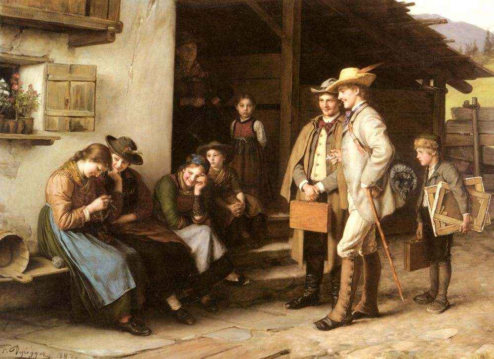 The First Study Trip :: Franz Von Defregger - Romantic scenes in art and painting фото