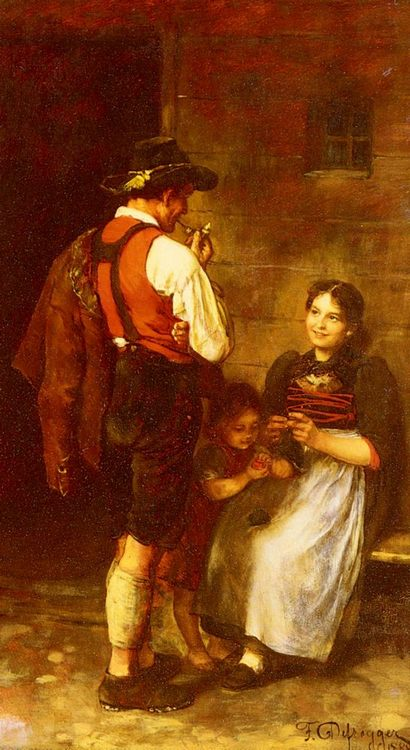 The Happy Family :: Franz Von Defregger - Romantic scenes in art and painting фото