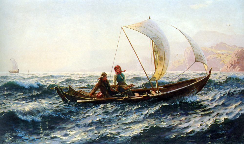 A Blustery Crossing :: Hans Dahl - Romantic scenes in art and painting фото