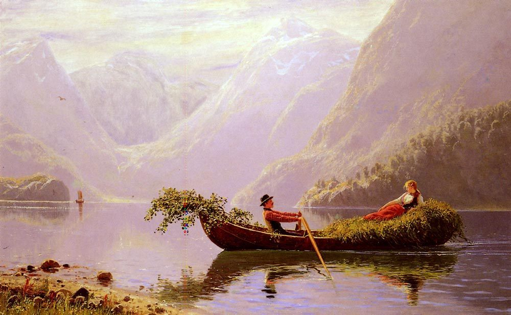 The Fjord :: Hans Dahl - Romantic scenes in art and painting ôîòî