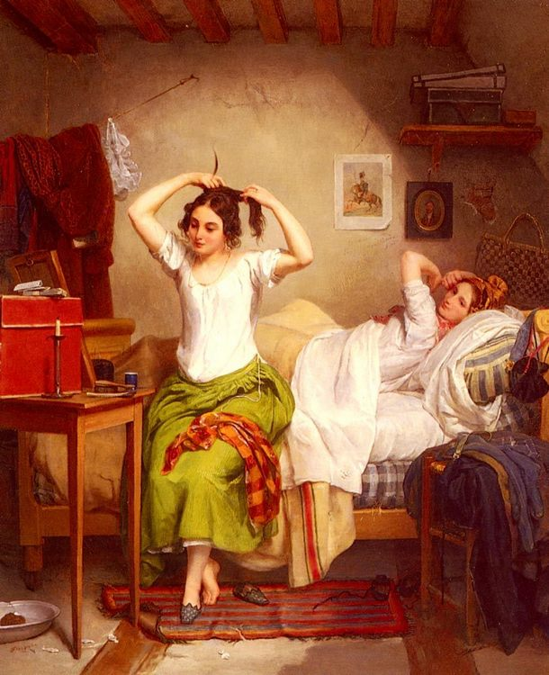 In The Bedroom :: Jean Augustin Franquelin - Romantic scenes in art and painting фото