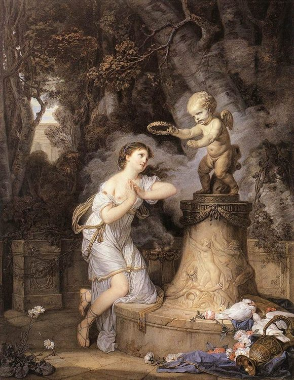 Votive Offering to Cupid :: Jean Baptiste Greuze - Romantic scenes in art and painting фото
