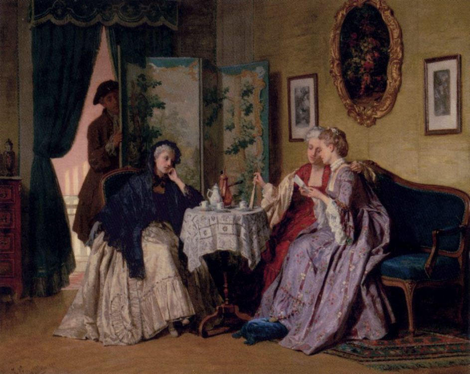 The Eavesdropper :: Jean Carolus - Romantic scenes in art and painting фото