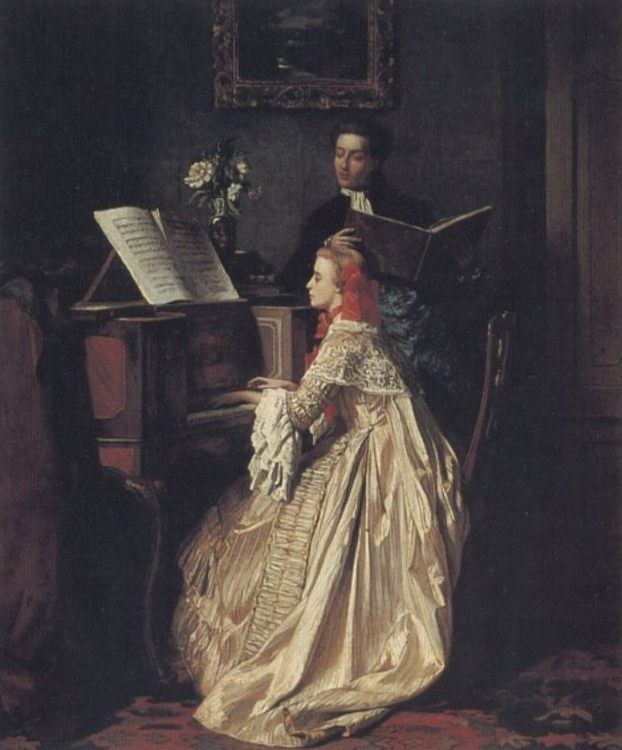 The Music Lesson :: Jean Carolus - Romantic scenes in art and painting ôîòî