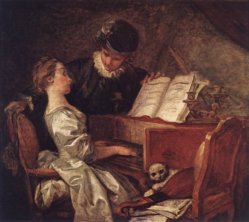 Music Lesson :: Jean-Honore Fragonard - Romantic scenes in art and painting ôîòî