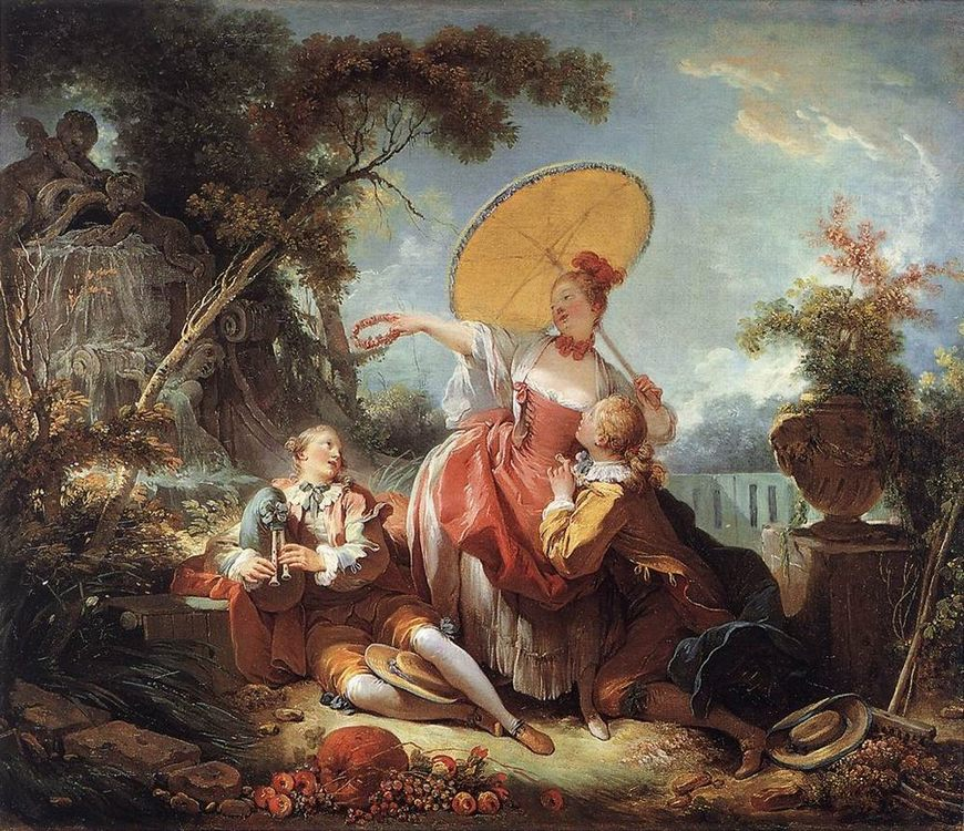 The Musical Contest :: Jean-Honore Fragonard - Romantic scenes in art and painting фото