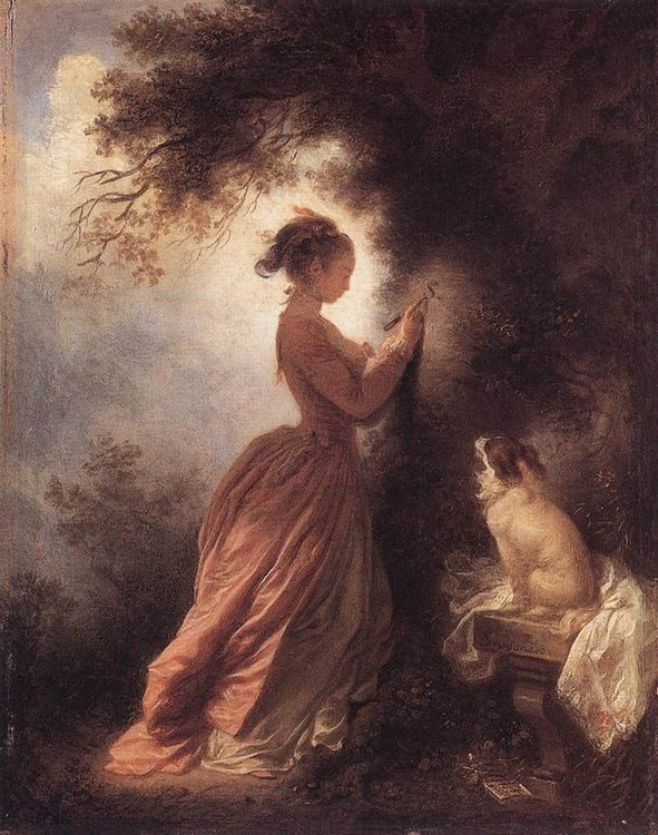The Souvenir :: Jean-Honore Fragonard - Romantic scenes in art and painting фото