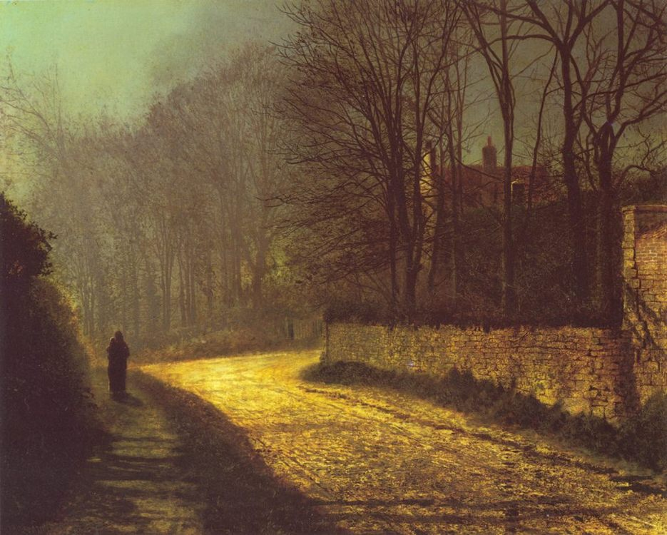 The Lovers :: John Atkinson Grimshaw  - Romantic scenes in art and painting фото